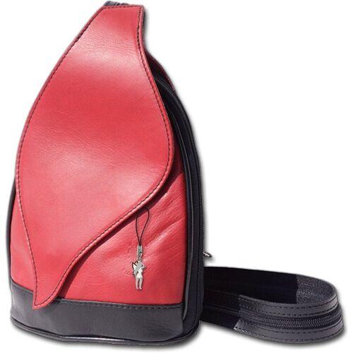 FLORENCE Cityrucksack »D2OTF602X Leder Tasche Damen Rucksack«, Damen Rucksack, Tasche aus Echtleder in rot-schwarz, rot