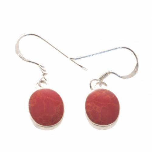 Bella Carina Paar Ohrhänger »Koralle oval«, oval Ohrringe mit Schaum Koralle