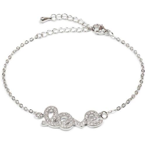 styleBREAKER Armkette »Armkette mit Strass Element 'love'«, Armkette mit Strass Element 'love'