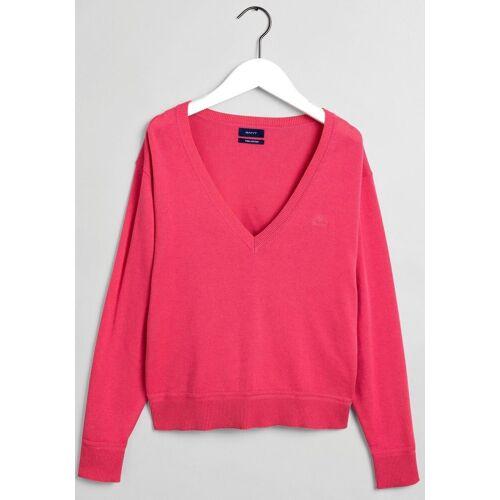Gant Longpullover mit tiefem V-Ausschnitt, pink
