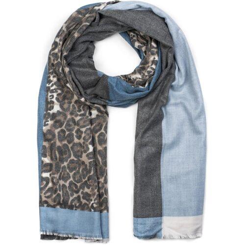 styleBREAKER Schal »3-farbiger Schal mit Leoparden Print« 3-farbiger Schal mit Leoparden Print