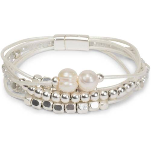 styleBREAKER Armband »Magnetverschluss Armband mit Perlen und Bändern«, Magnetverschluss Armband mit Perlen und Bändern, Weiß