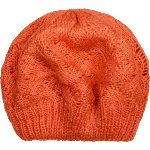 styleBREAKER Baskenmütze »Strick Baskenmütze mit Zopfstrick Muster« Strick Baskenmütze mit Zopfstrick Muster, Orange