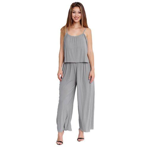 Egomaxx Jumpsuit »3239« Damen Jumpsuit Chiffon plissee, Grau