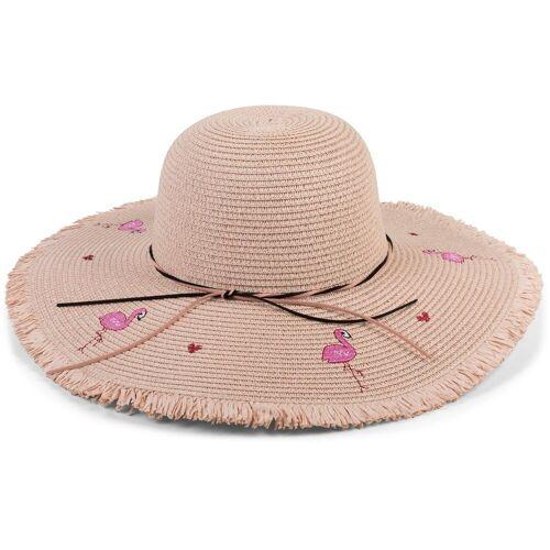 styleBREAKER Sonnenhut »Strohhut Flamingos« Strohhut Flamingos, Rose