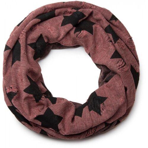 styleBREAKER Loop »Loop Schal mit Sterne und Punkte Muster« Loop Schal mit Sterne und Punkte Muster, Rotbraun