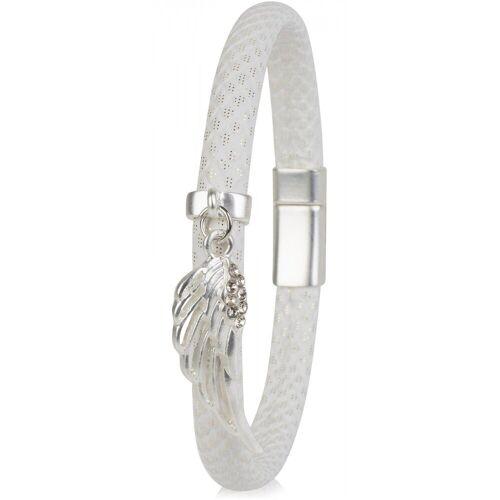 styleBREAKER Armband »Schmales Armband mit Flügel und Strass«, Schmales Armband mit Flügel und Strass, Weiß