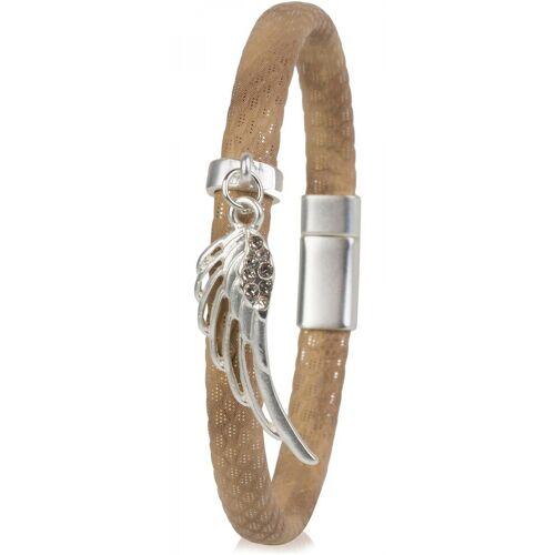 styleBREAKER Armband »Schmales Armband mit Flügel und Strass«, Schmales Armband mit Flügel und Strass, Hellbraun