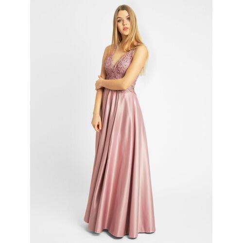 Apart Abendkleid mit tiefem V-Ausschnitt und extravagantem Rückenausschnitt, rosé