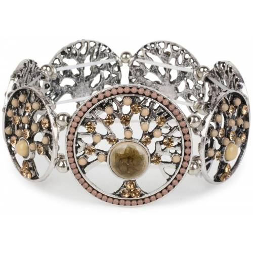 styleBREAKER Armreif »Armband mit Lebensbaum Amuletten mit Perlen & Strass«, Armband mit Lebensbaum Amuletten mit Perlen & Strass, Hellbraun