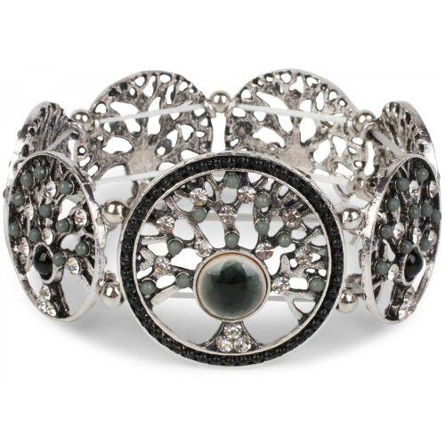 styleBREAKER Armreif »Armband mit Lebensbaum Amuletten mit Perlen & Strass«, Armband mit Lebensbaum Amuletten mit Perlen & Strass, Schwarz-Grau