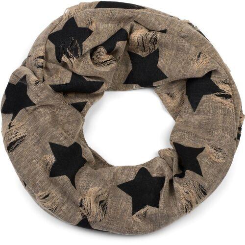 styleBREAKER Loop »Loop Schal mit Sterne und Punkte Muster« Loop Schal mit Sterne und Punkte Muster, Braun