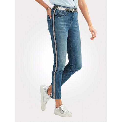 Mona Jeans mit Galonstreifen, Blau