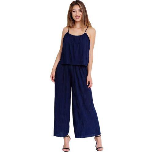 Egomaxx Jumpsuit »3239« Damen Jumpsuit Chiffon plissee, Blau
