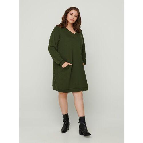 Zizzi Sweatkleid Damen Große Größen Sweatkleid Langarm V-Ausschnitt Basic Kleid