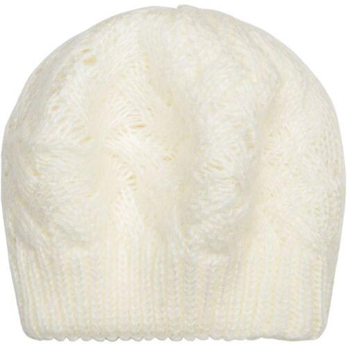 styleBREAKER Baskenmütze »Strick Baskenmütze mit Zopfstrick Muster«, Creme-Weiß