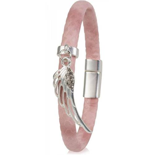 styleBREAKER Armband »Schmales Armband mit Flügel und Strass«, Schmales Armband mit Flügel und Strass, Rosa