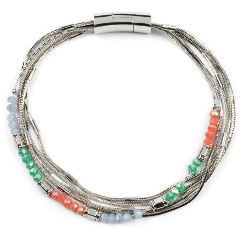 styleBREAKER Armband »Armband mit feinen Ketten und Perlen«, Armband mit feinen Ketten und Perlen, Silber / Bunt