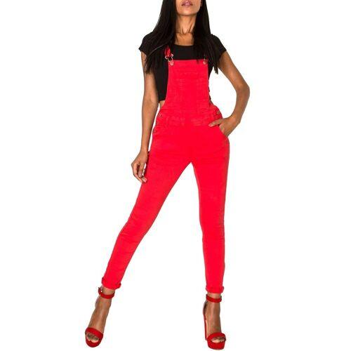 Simply Chic Latzjeans »2951« Damen Latzhose Skinny Fit, Rot