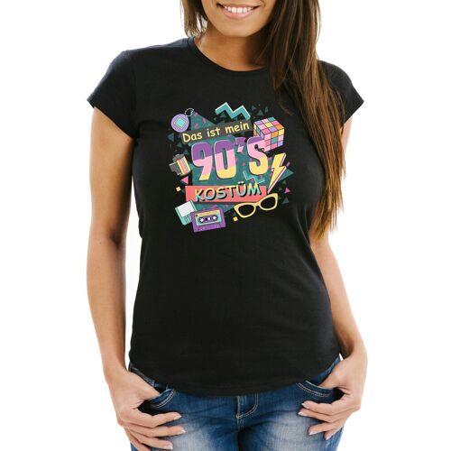 MoonWorks Print-Shirt »Damen T-Shirt Das ist mein 90s Kostüm 90er Neunziger Fasching Karneval Mottoparty Slim Fit ®« mit Print