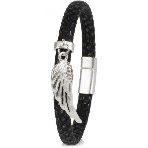 styleBREAKER Armband »Schmales Armband mit Flügel und Strass«, Schmales Armband mit Flügel und Strass, Schwarz