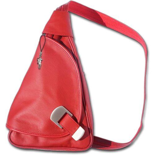 FLORENCE Cityrucksack »D2OTF600X echtes Leder Damentasche«, Damen Rucksack, Tasche aus Echtleder in rot, rot
