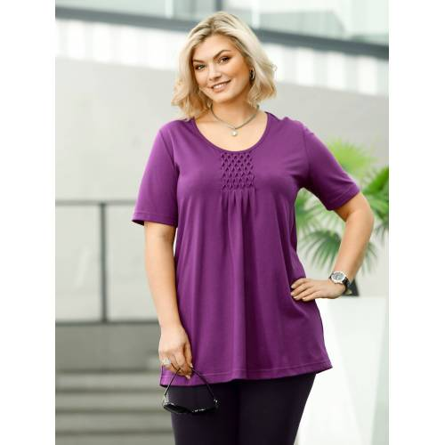 m. collection Shirt in figurschmeichelnder Longform, Lila