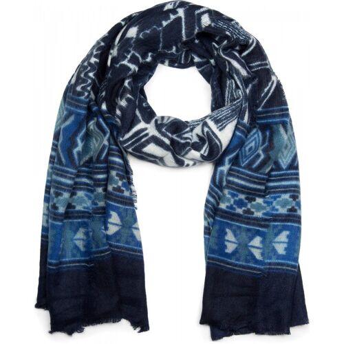styleBREAKER Schal »Breiter Schal mit Azteken Ethno Muster« Breiter Schal mit Azteken Ethno Muster, Blau-Dunkelblau-Weiß