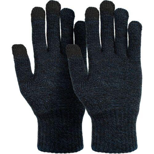 styleBREAKER Strickhandschuhe Touchscreen Strick Handschuhe mit Karo Strickmuster, Dunkelblau meliert