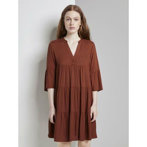 TOM TAILOR Denim Babydollkleid »Mini Babydoll-Kleid mit Volants«, altkupferfarben