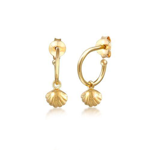Elli Paar Ohrstecker »Creolen Stecker Muschel 925 Silber«, Creole, Gold