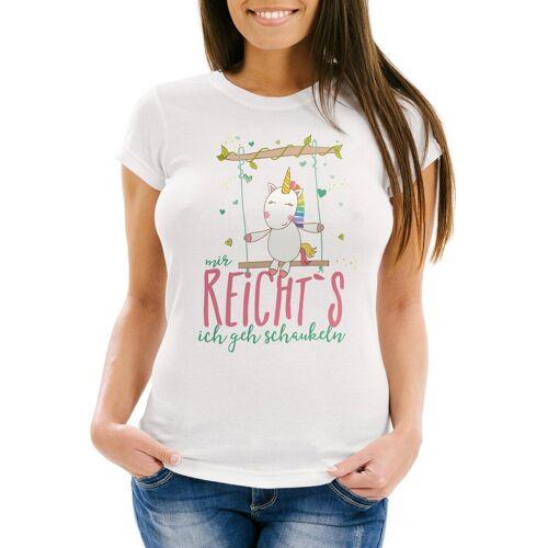 """MoonWorks Print-Shirt »Damen T-Shirt Einhorn auf Schaukel """"Mir reicht`s ich geh schaukeln"""" Spruch Slim Fit ®« mit Print, weiß"""