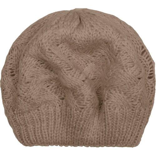 styleBREAKER Baskenmütze »Strick Baskenmütze mit Zopfstrick Muster« Strick Baskenmütze mit Zopfstrick Muster, Taupe