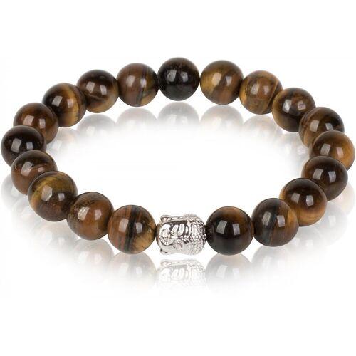 styleBREAKER Armband »Onyx / Tigerauge Armband mit Buddha«, Onyx / Tigerauge Armband mit Buddha, Braun