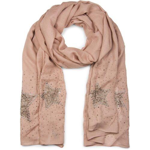 styleBREAKER Schal »Schal mit Stern aus Strass und Lochnieten« Schal mit Stern aus Strass und Lochnieten, Altrose