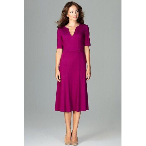 LENITIF Abendkleid mit femininem V-Ausschnitt, Fuchsia