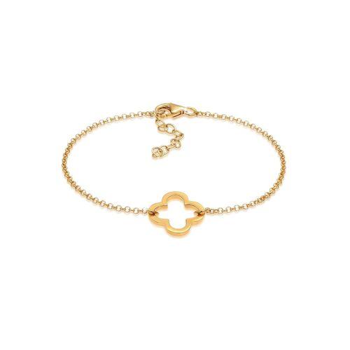 Elli Armband »Kleeblatt Glück Talismann 925 Silber«, Kleeblatt, Gold