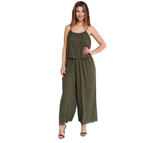 Egomaxx Jumpsuit »3239« Damen Jumpsuit Chiffon plissee, Khaki