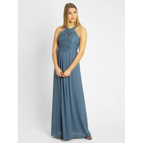 Apart Abendkleid aus Spitze und Chiffon, hellblau
