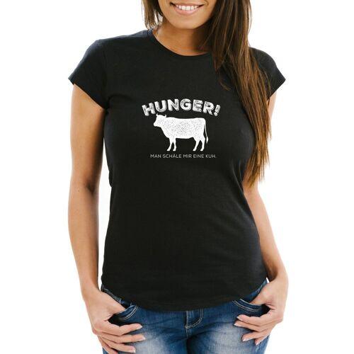 MoonWorks Print-Shirt »Damen T-Shirt Hunger! Man schäle mir eine Kuh lustiges Spruch Fun-Shirt ®« mit Print