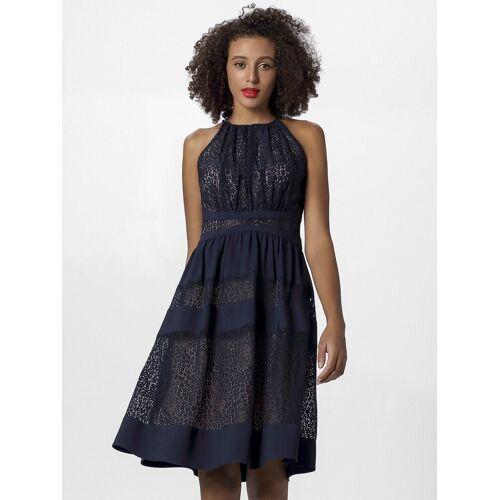 Apart Abendkleid mit blickdichten Streifen und nudefarbenem Futter, nachtblau