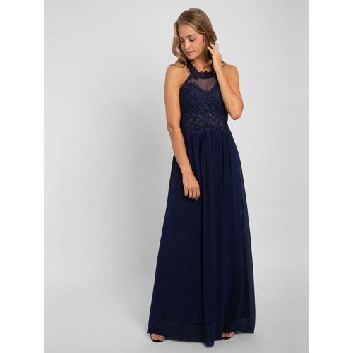 Apart Abendkleid nahezu rückenfrei, mit Trägern aus Spitze, blau