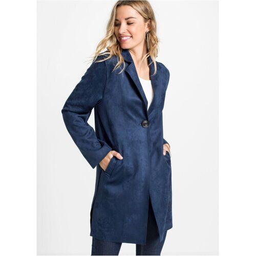 bonprix Langmantel »Moderner Mantel in Veloursleder-Optik mit Revers« mit Revers, dunkelblau