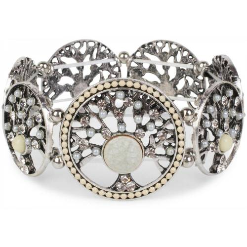 styleBREAKER Armreif »Armband mit Lebensbaum Amuletten mit Perlen & Strass«, Armband mit Lebensbaum Amuletten mit Perlen & Strass, Creme-Weiß