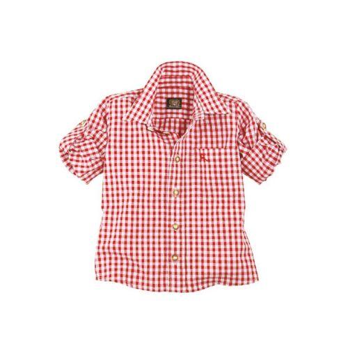 OS-Trachten Trachtenhemd Kinder kariert für Mädchen und Buben, rot