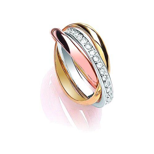 Buckley London Ring »dreifarbig mit Kristallen«, mehrfarbig