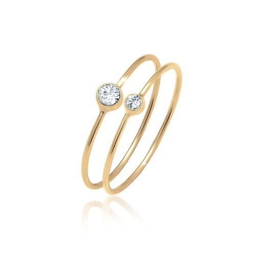 Elli Ring-Set »Solitär Kristalle (2 tlg) 925 Silber«, Solitär-Ring, Gold