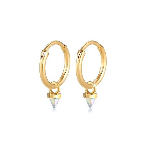 Elli Paar Creolen »Creole Kristalle Spitze 925 Silber«, goldfarben
