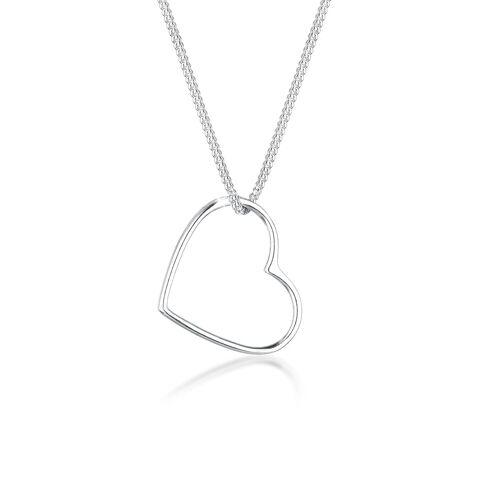 Elli Kette mit Anhänger »Herz Anhänger Liebe Cut Out 925 Silber«, Herz, Silber