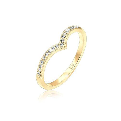 Elli Fingerring »V-Form Geo Kristall 925 Sterling Silber«, Kristall Ring, Gold